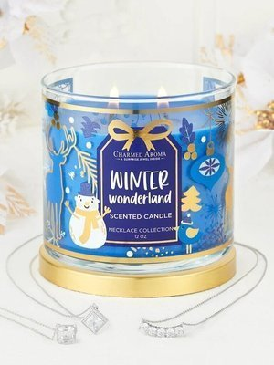 Charmed Aroma jewel soy scented candle with Necklace 12 oz 340 g - Winter Wonderland