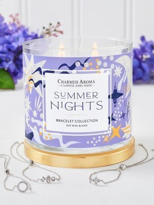 Charmed Aroma jewel soy scented candle with Silver Necklace 12 oz 340 g - Summer Nights