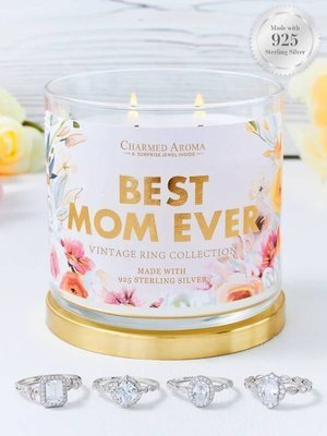 Charmed Aroma jewel soy scented candle with Silver Ring 12 oz 340 g - Best Mom Ever