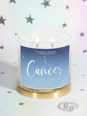 Charmed Aroma jewel soy scented candle with Silver Ring 12 oz 340 g - Cancer Zodiac Sign