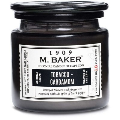 Colonial Candle M. Baker large soy scented candle apothecary jar 14 oz 396 g - Tobacco & Cardamom