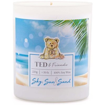 Ted & Friends scented soy candle in white glass 220 g - Sky, Sun & Sand