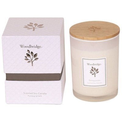 Woodbridge medium scented soy candle 270 g in a box - Pomegranate