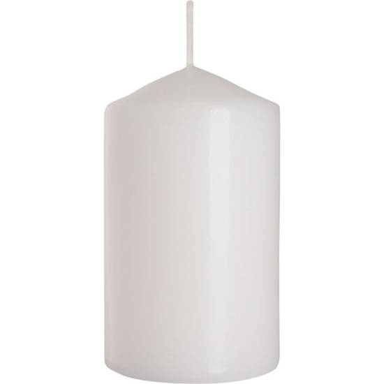 Bispol pillar unscented solid candle 100/58 mm - White