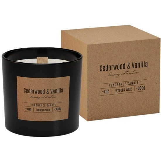 Bispol scented candle in box wooden wick ~ 40 h - Cedarwood Vanilla
