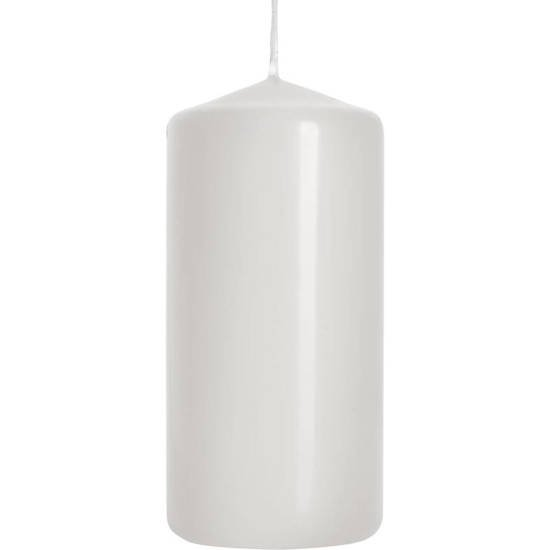 Bispol unscented pillar solid candle 100/48 mm - White