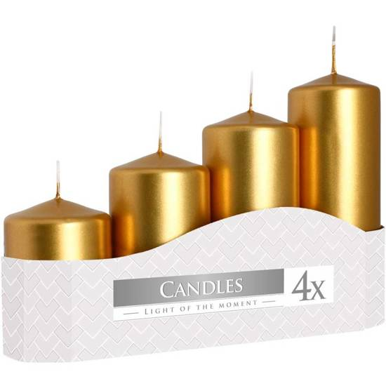 Bispol votive unscented solid candle set 4 pcs Advent - Gold metallic