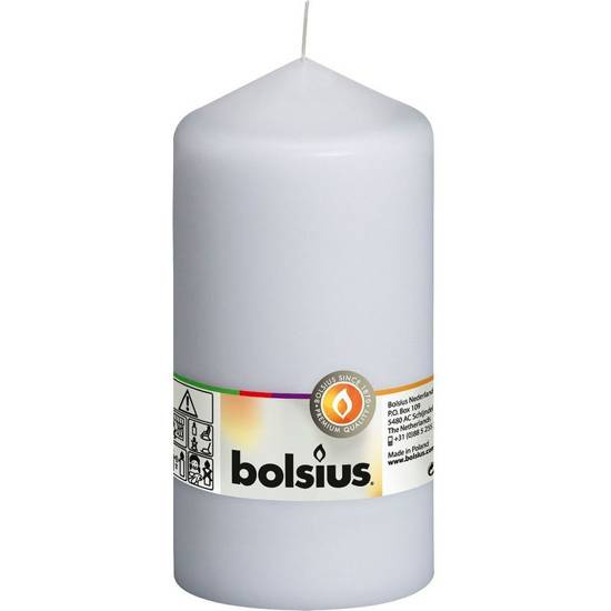 Bolsius pillar unscented solid candle 15 cm 150/78 mm - White