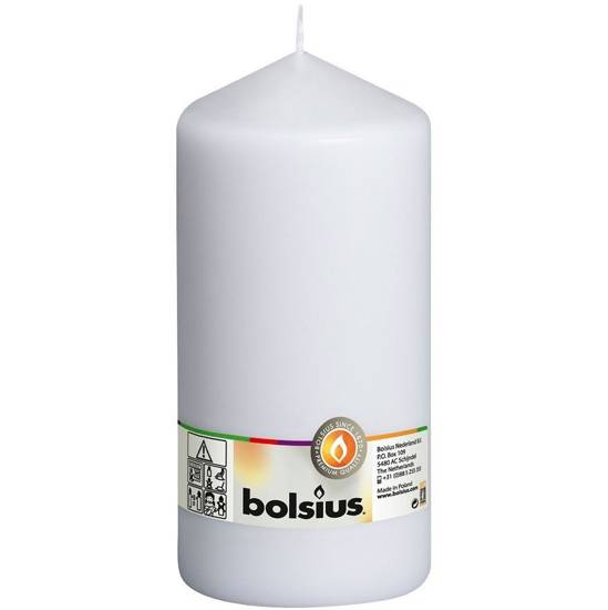 Bolsius pillar unscented solid candle 20cm 200/98 mm - White