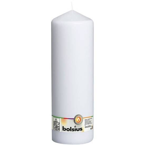 Bolsius pillar unscented solid candle 30cm 300/98 mm - White