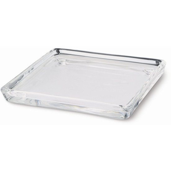 Bolsius transparent glass candle tray plate square 100/100 mm