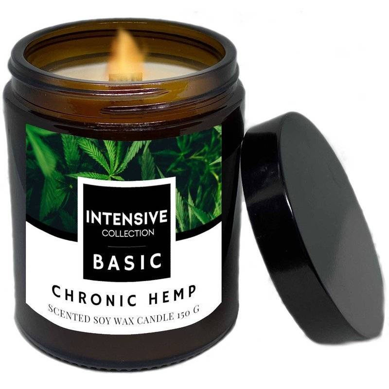 Intensive Collection Amber Basic natural soy wax scented candle wooden wick 150 g - Chronic Hemp