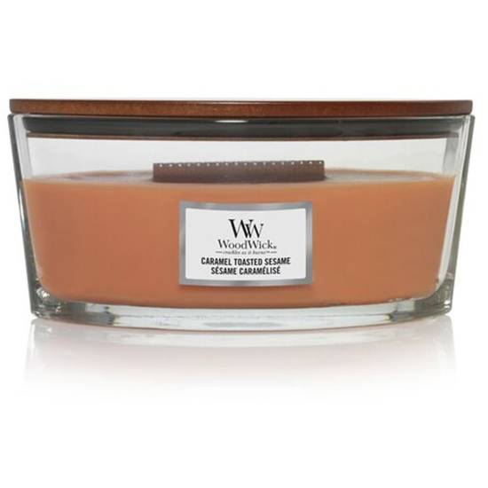 Woodwick Core Heartwick Ellipse Large Scented Candle with Wooden Wick 16 oz 453.6 g - Caramel Toasted Sesame
