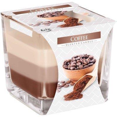 Bispol świeca zapachowa w grubym szkle trójkolorowa kwadrat 2 knoty 170 g - Kawa Coffee