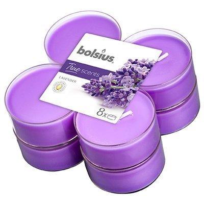 Bolsius podgrzewacze zapachowe maxi poliwęglan 6 cm True Scents fioletowe 8 szt - Lavender Lawenda