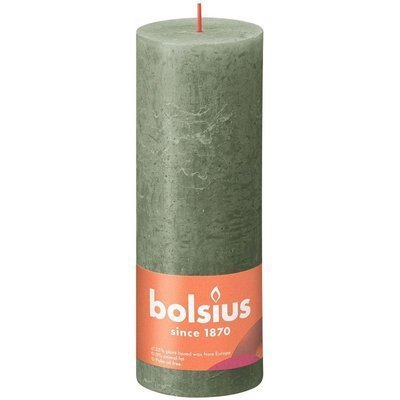 Bolsius świeca bryłowa pieńkowa rustykalna słupek Rustic Shine 190/68 mm 19 cm - Zielona Oliwka Fresh Olive