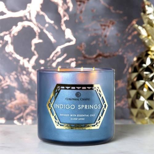 Colonial Candle Luxe sojowa świeca zapachowa w szkle 3 knoty 14.5 oz 411 g - Indigo Springs