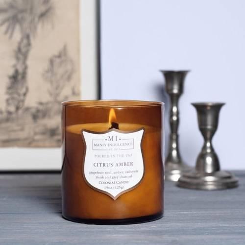 Colonial Candle sojowa świeca zapachowa w szkle drewniany knot 15 oz 425 g - Citrus Amber