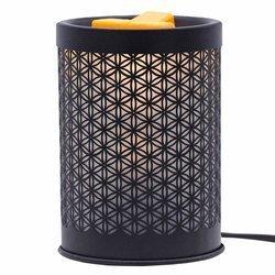 Elektryczny kominek do wosków zapachowych Flower Of Life czarny