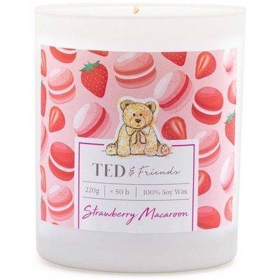 Ted & Friends sojowa świeca zapachowa w białym szkle 220 g - Strawberry Macaron