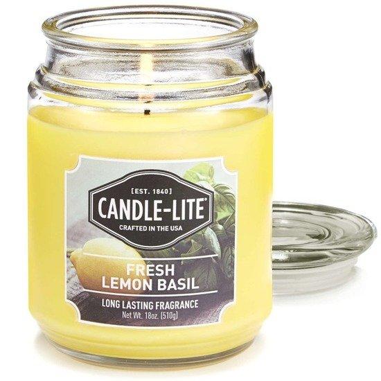 Candle-lite Everyday duża świeca zapachowa w szklanym słoju 145/100 mm 510 g ~ 110 h - Fresh Lemon Basil