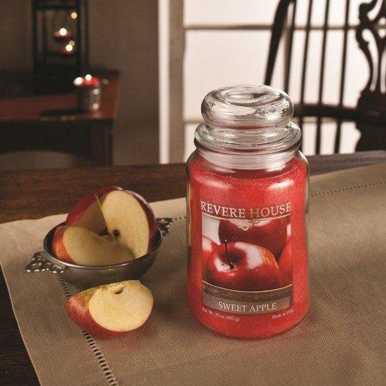 Candle-lite Revere House Jar Glass Candle With Lid 23 oz duża świeca zapachowa w szklanym słoju 185/100 mm 652 g ~ 120 h - Sweet Apple
