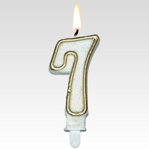 Tamipol świeczka urodzinowa cyferka biała ze złotym brokatem na urodzinowy tort - cyfra 7