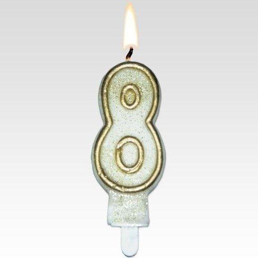 Tamipol świeczka urodzinowa cyferka biała ze złotym brokatem na urodzinowy tort - cyfra 8